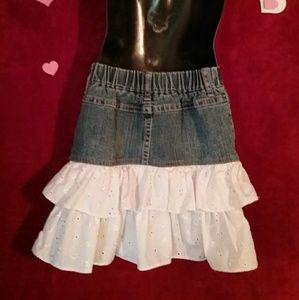 Cherokee Bottoms - GIRLS Cute Denim Skirt with RUFFLE bottom size 6